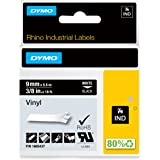 """DYMO Industrial Labels for DYMO Industrial Rhino Label Makers, White on Black, 3/8"""", 1 Roll (1805437), DYMO Authentic"""