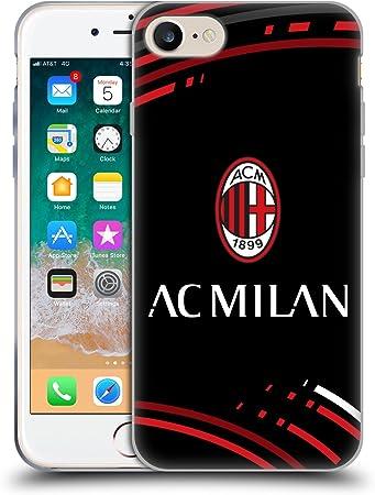 Head Case Designs Ufficiale AC Milan Curvato Stemma Modelli Cover in Morbido Gel Compatibile con Apple iPhone 7 / iPhone 8 / iPhone SE 2020