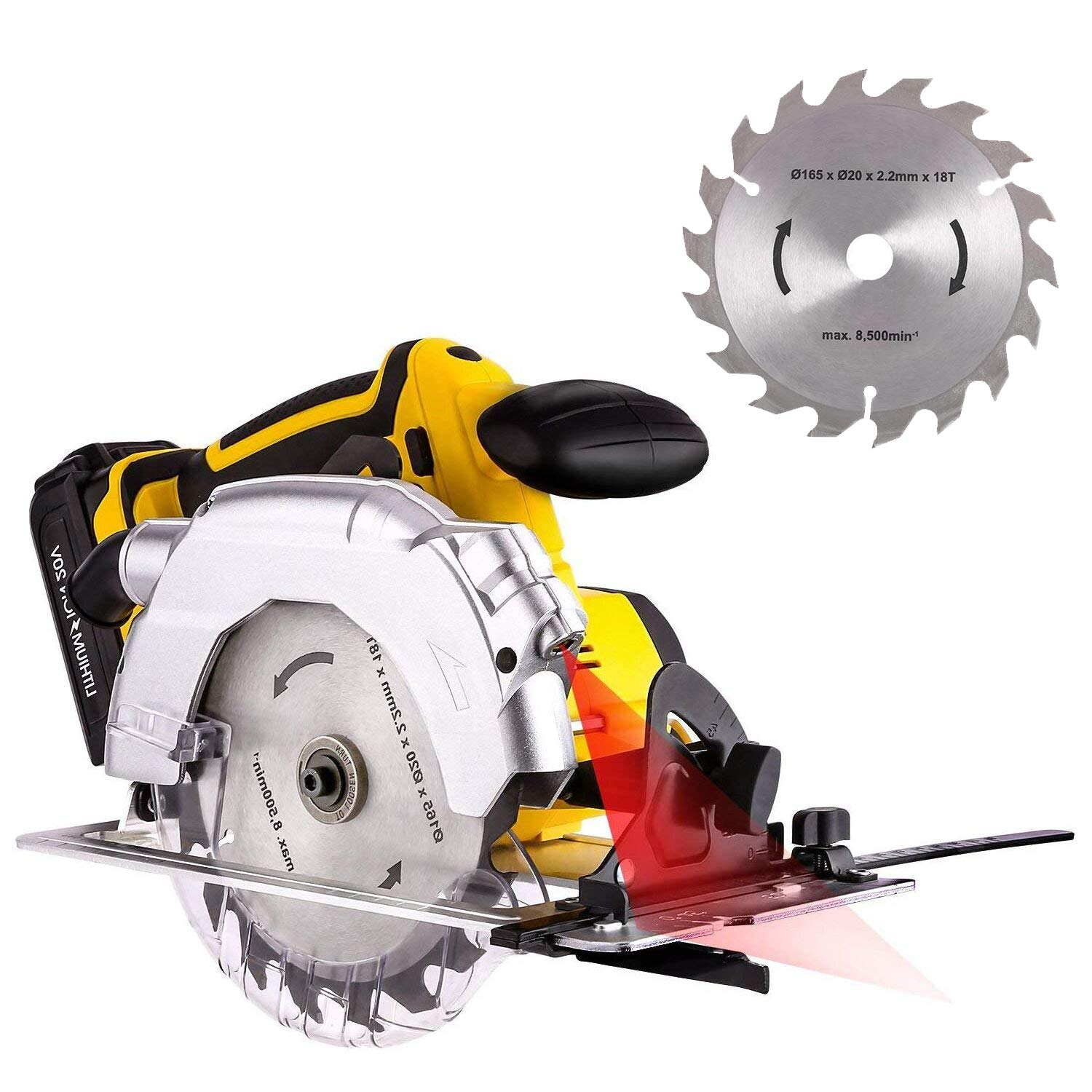 20V 165mm Wood Cutting Tools Cordless Circular Saw with Brake, Spindle Lock Laser, Protection Board Bevel, Guide and Carbide-Tipped Blade [US STOCK]