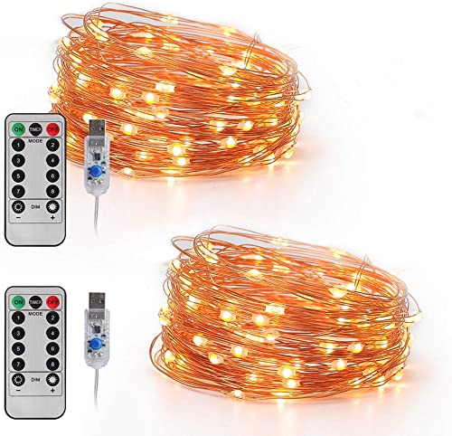 LED Fairy Lights Plug in Led String Lights 32.8FT 100 LED USB Twinkle Fairy Lights with Remote, 8 Modes Warm Light Copper Wire Lights for Bedroom Christmas 2 Pack, 32.8 ft