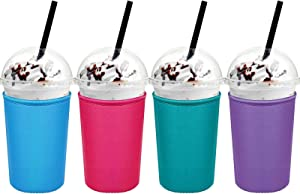 4 Pieces Reusable Coffee Sleeve Cup Holders Drinks Insulated Sleeve for Cold and Hot Beverages (Rose Red, Light Blue, Green, Purple,Medium 22-24 oz)