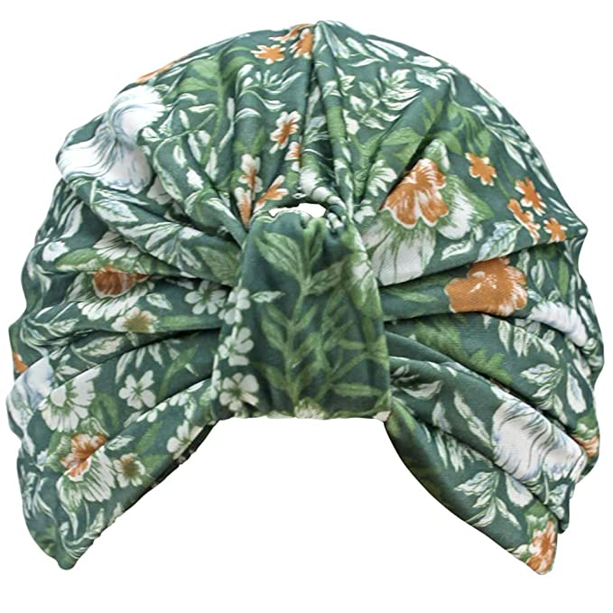 1940s Hair Accessories- Flowers, Snoods, Clips, Bandanas  Green Floral Leaf Print Turban Hat Sun Cap $12.99 AT vintagedancer.com