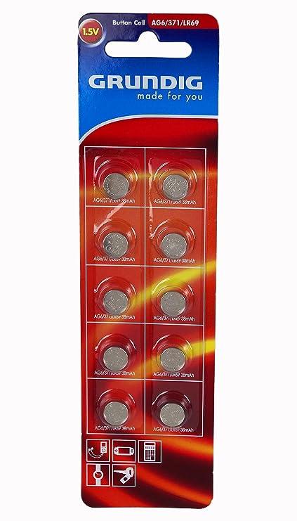 10 x Grundig AG6 pilas de botón Relojes Digital Cámara de fotos Cocina Cocina Báscula 12.2018