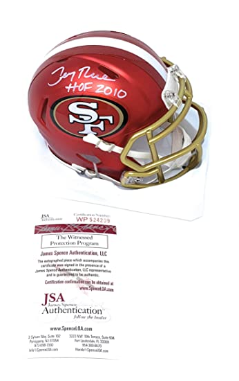 Amazon.com  Jerry Rice San Francisco 49ers Signed Autograph BLAZE Speed  Mini Helmet HOF Inscribed JSA Witnessed Certified  Sports Collectibles e9c31f99c