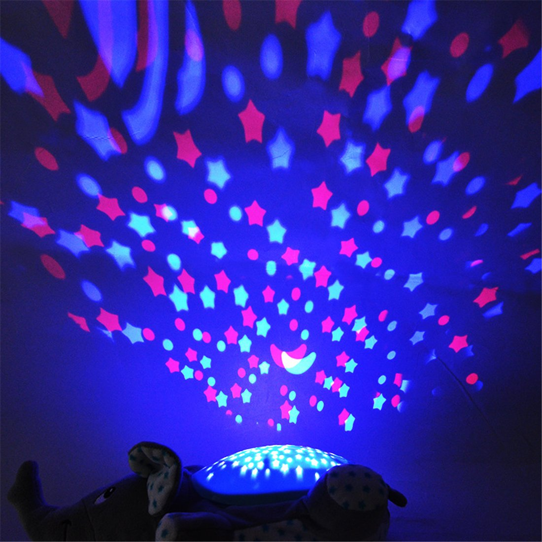 ESOCOME Baby Plush Hippo Toy Hypnotic Star and Moon Light Projector with Melodies -Animal Doll Sleep Soother Starry Night Light for Baby Infant Kids Nursery by ESOCOME (Image #4)