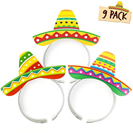 4066b8136870f Joyousa Sombrero Party Hats - 9 Pack of Headbands – Fiesta Party Supplies   Cinco  de