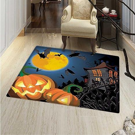 Alfombra de Halloween, diseño de búho y Truco de casa y Gato ...