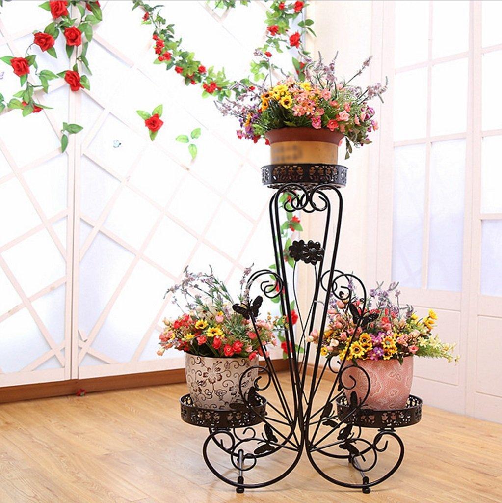 CYJZ® Scaffali da fiori, Soggiorno al coperto in ferro Multistrato scaffale per ufficio Fioriera per vaso da fiori 70 x 65 cm Resistente alla corrosione ( colore   Nero , dimensioni   7090cm )