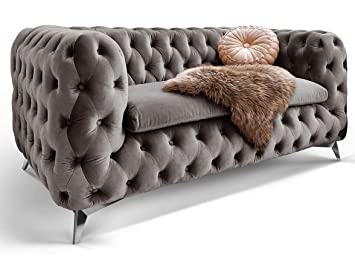 Chesterfield Sofa Couch Stoff Samt 3 Sitzer 2 Sitzer Sessel 1 Sitzer