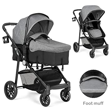 NEW Folding Baby Pushchair Stroller With Footmuff And Raincover Navy Blue