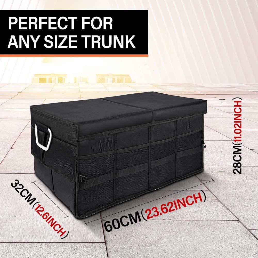 YUMA Car Trunk Organizer Black Trunk Organizers for SUV,Cargo Storage Organizers with Lid,Ollapsible Trunk Container,Portable Trunk Storage with Straps