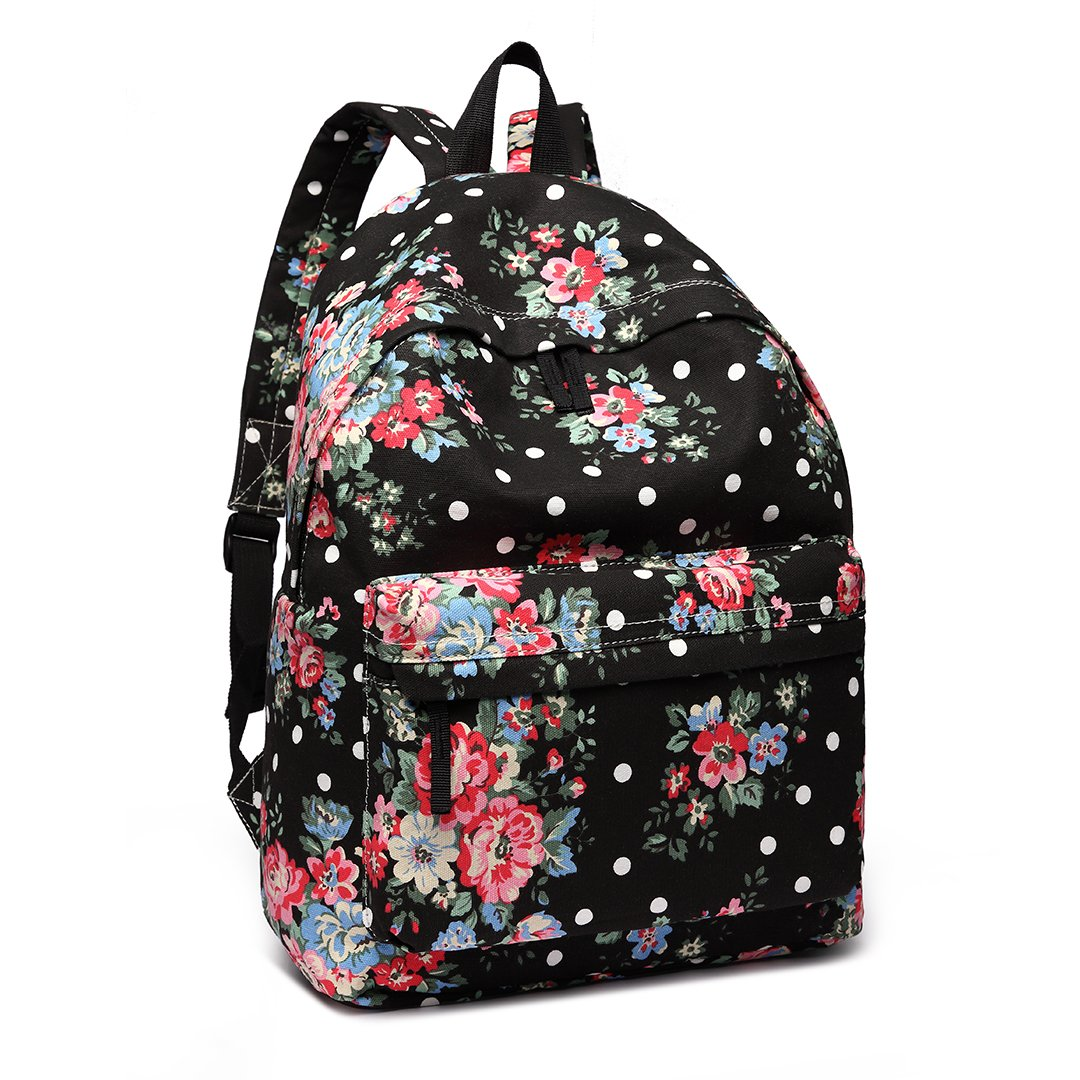 1aaee153b3 Amazon.com: Miss Lulu School Backpacks Canvas Bookbag Cute Printed Leisure  Backpack for Teenage Girls (1401F Black): Sports & Outdoors