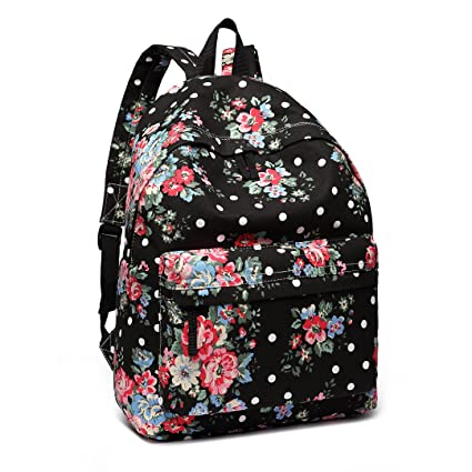 6f7f920650 Miss Lulu School Backpacks Canvas Bookbag Cute Printed Leisure Backpack for  Teenage Girls (1401F Black