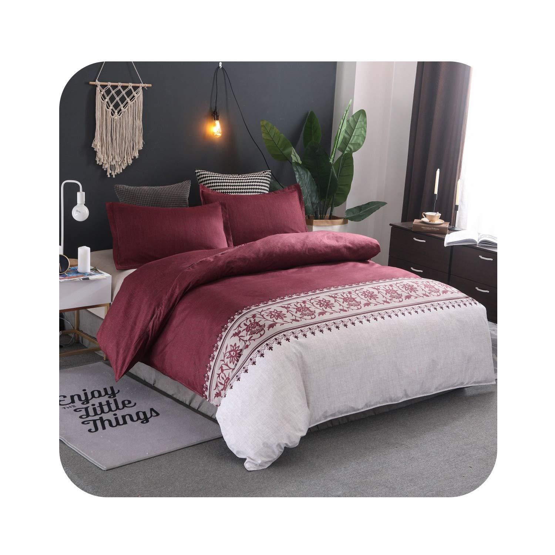 2019 Minimalist Bed Duvet Cover Set Luxury European Comforter Bedding Sets Solid Pattern Reversible Bedding Set King Size,color2,AUdouble