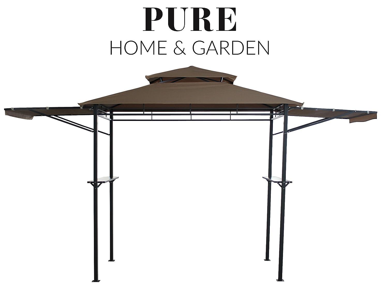 Pure Home & Garden Luxus Grill Pavillon San Lorenzo, wasserabweisend mit stabilen Seitenablagen und klappbaren Seitenteilen