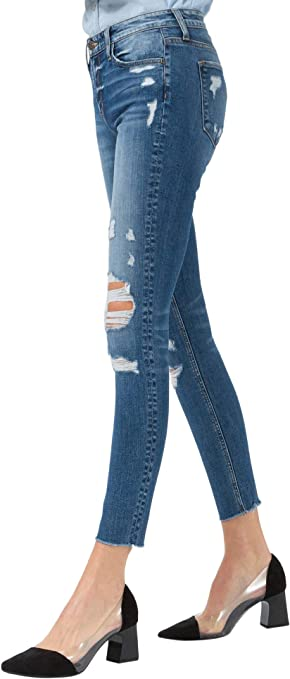 Vivi 10448 Cropped Skinny Fit Jeans Damen Mid Rise Brandneu Blue Monkey