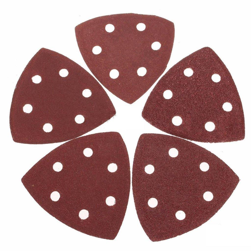Dark Red 80 Grit MagiDeal 50 Piece Sanding Sheets Discs Triangle Sander Grinder Paper Pads