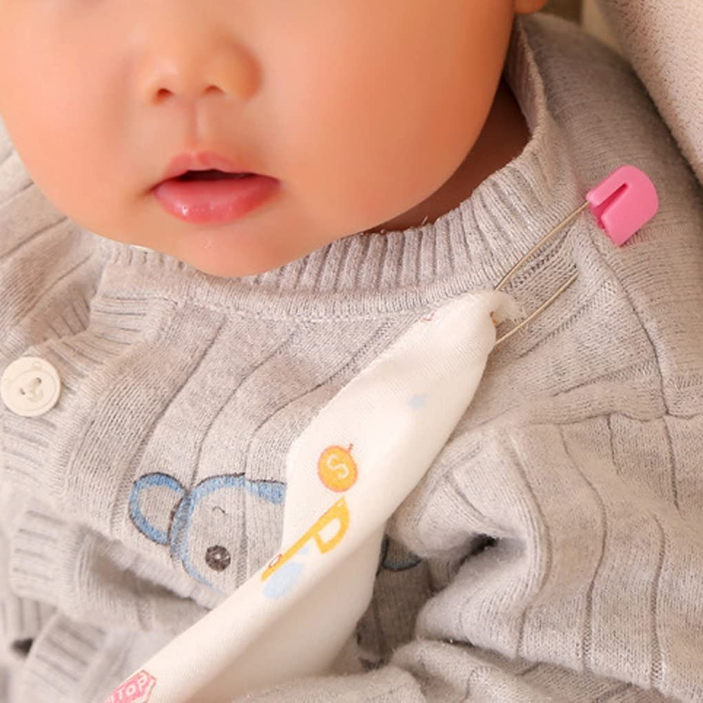 F-blue Baby Safety Pins Safety Cloth Stainless Steel Baby Bibs Apron Diaper Safety Pins 8pcs