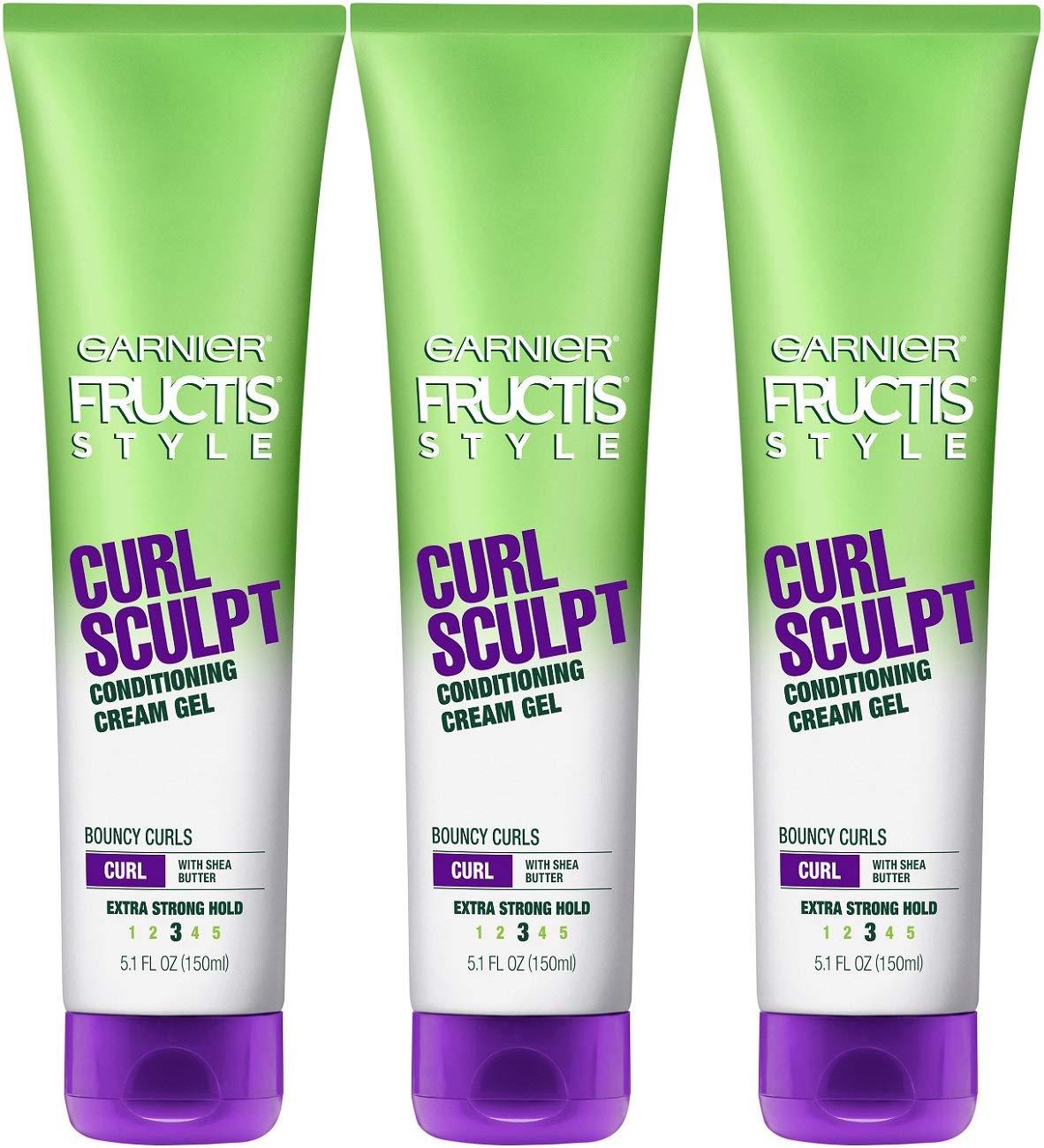 Garnier Fructis Style Curl Sculpt Conditioning Cream Gel, Mint, 5.1 Fl Oz (Pack of 3)