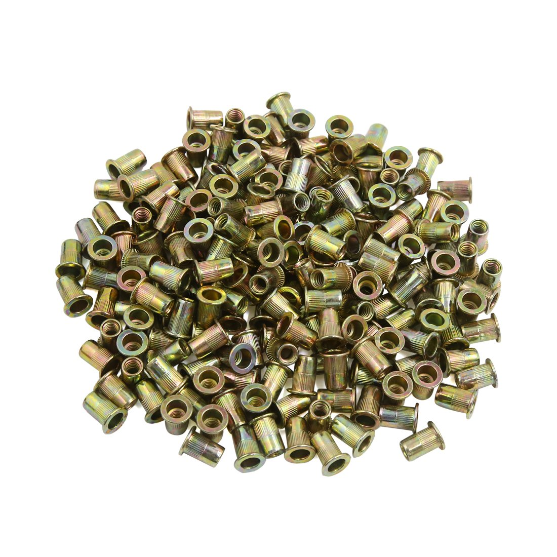 uxcell a16073000ux1917 200 Pcs 1/4-20 Bronze Tone Zinc Plated Stainless Steel Thread Rivet Nut Insert Nutserts, Pack