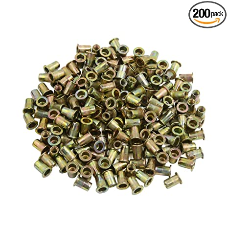 uxcell a16073000ux1917 200 Pcs 1/4-20 Bronze Tone Zinc Plated Stainless  Steel Thread Rivet Nut Insert Nutserts Pack
