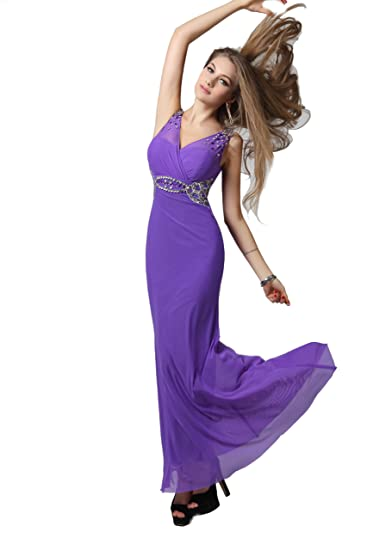 Glamorous Cadbury Purple Beaded Spandex Long Evening Dress UK NEXT DAY DELIVERY (UK6-8