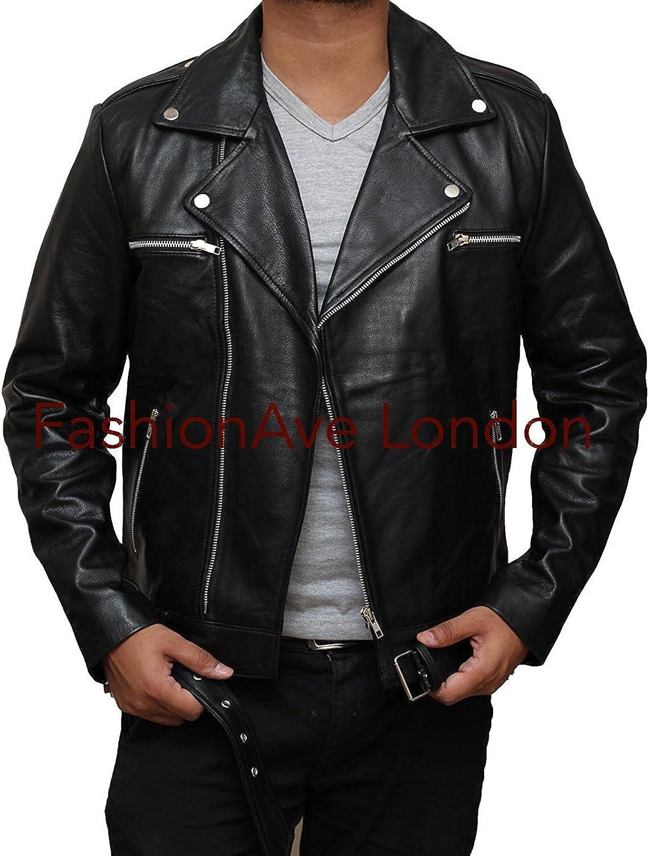 FashionAve London Mens Walking Dead Real Leather Jeffery Dean Morgan Jacket