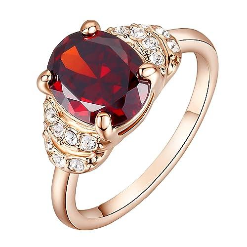 Yoursfs Anillos Mujer Elegante Chapado en Oro Rosa con cristal anillo de compromiso