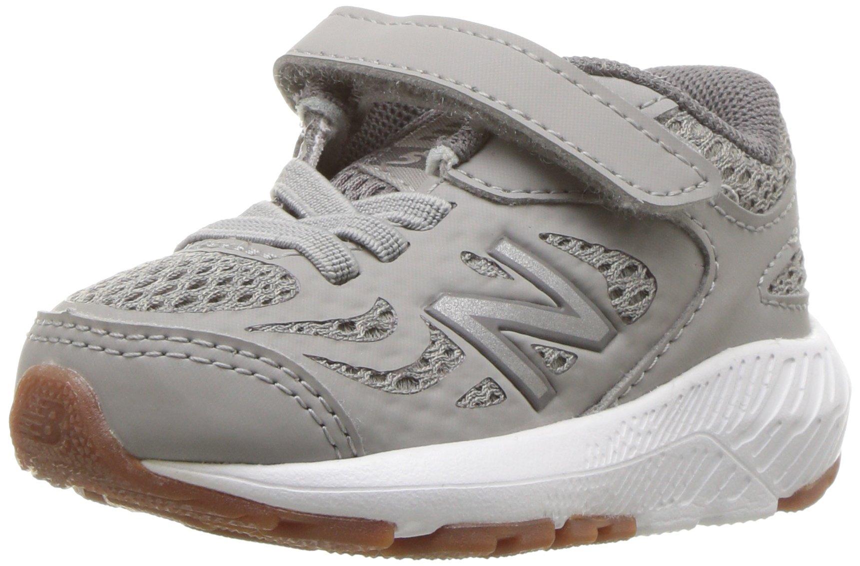 New Balance Boys' 519v1 Hook and Loop Running Shoe, Team Away Grey/Castlerock, 4 W US Toddler