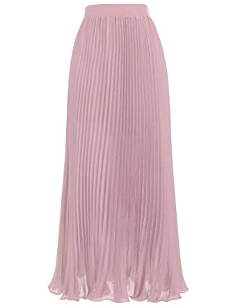 40a10a0142 Kate Kasin Women Ankle Length Pink Pleated Skirts for Bridal Shower Size S  KK614-2