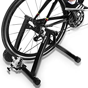 DRMOIS Bike Trainer Stand – Portable Stainless Steel Indoor Exercise Bicycle Trainer Magnetic Flywheel, Stationary Bike Resistance Trainers for Road & Mountain Bikes