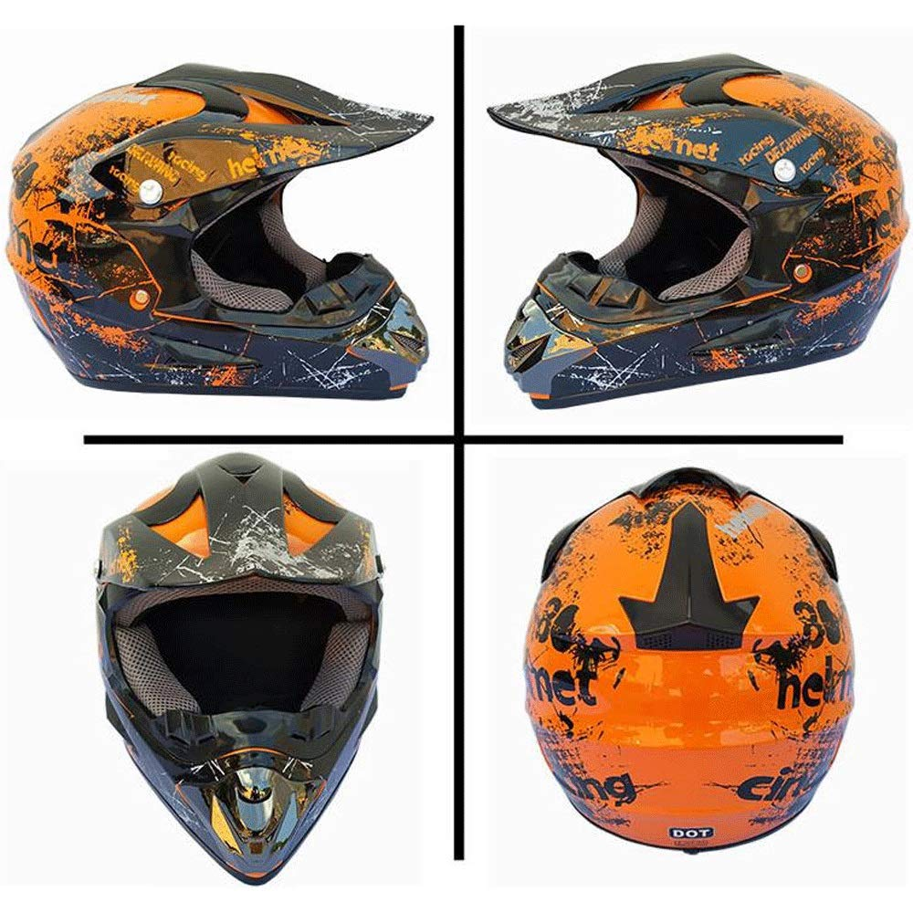 Color : A, Size : S ZXFB Motocross Offroad Street Dirt Bike Helmet Goggles Gloves ATV Mx Helmet
