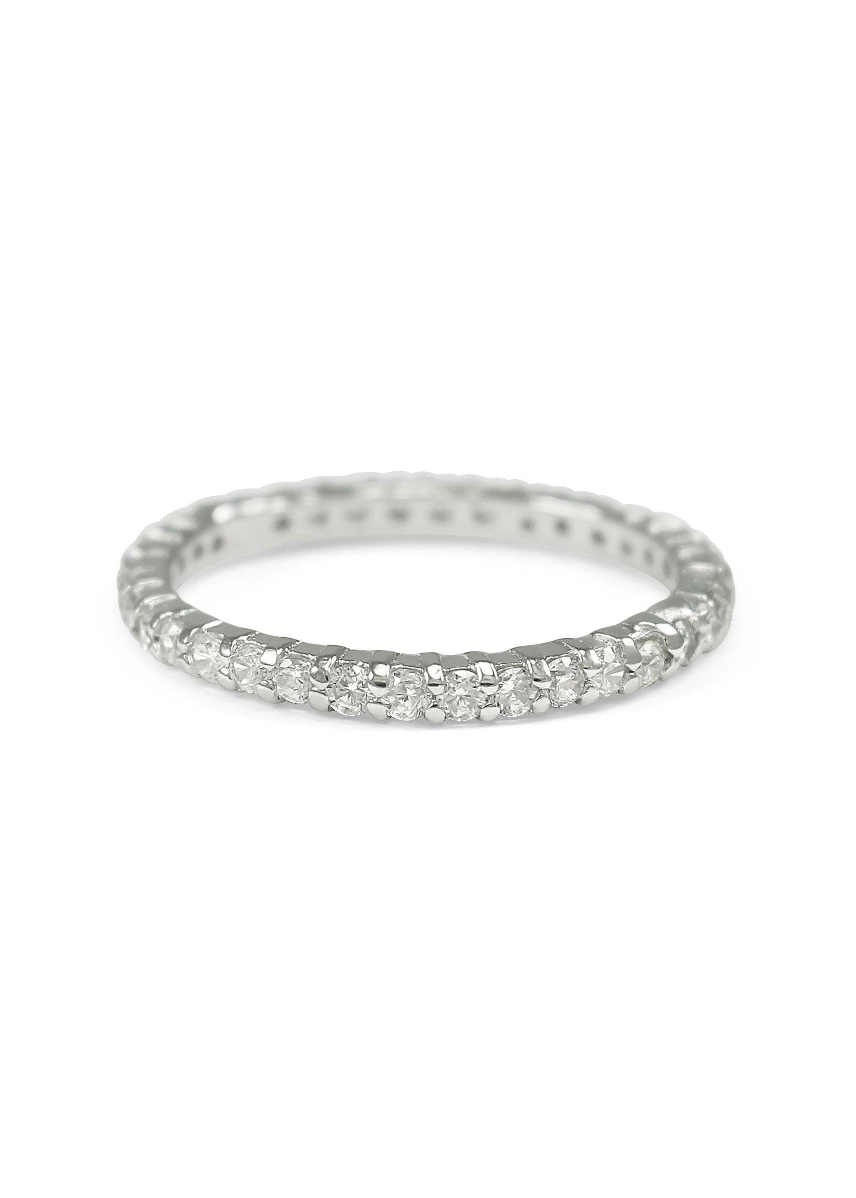 925 Sterling Silver Eternity Band Ring with Simulated Diamonds / Wedding Bands / Promise Rings