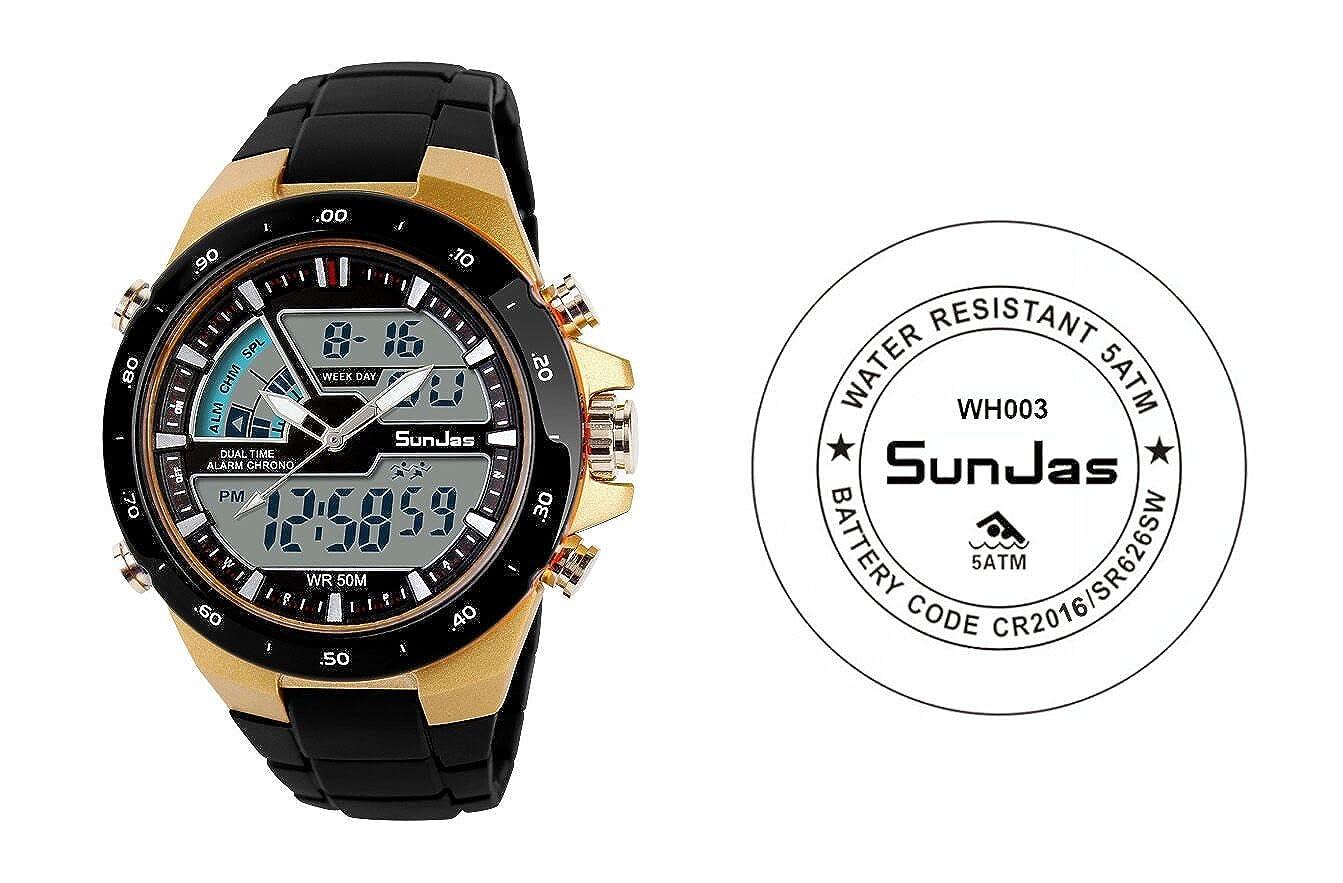 5777e176168c SunJas Reloj Deportivo para Hombres Resistente contra Agua de 50m Pulsera  Digital con Luces Banda Desmontable de Multifunciones para Deportes  Exteriores ...