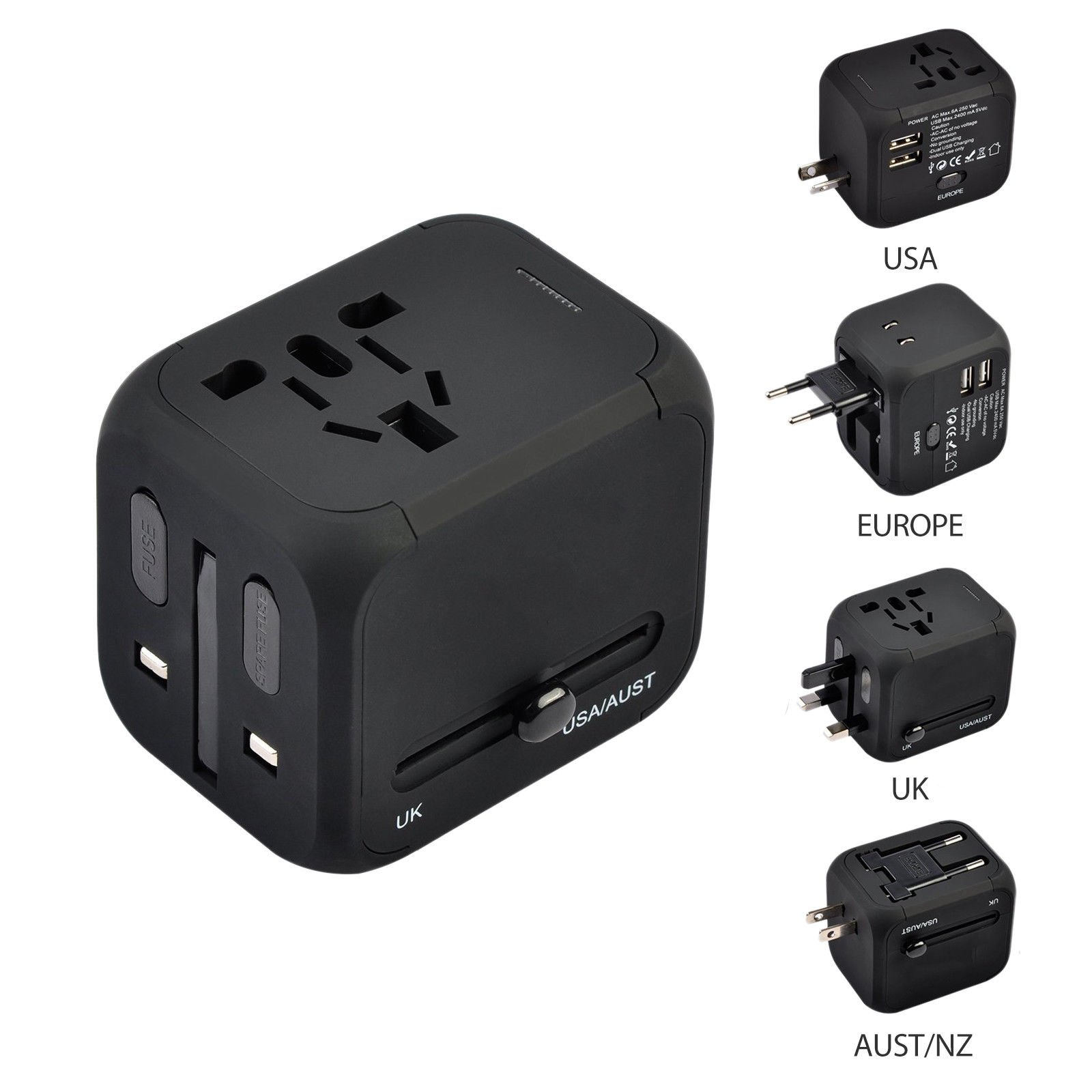 FahanTech Universal Travel Adapter, All-in-one Power Adapter Dual USB Charging Ports (Max 2.4A), Covers 150 Countries (Black)