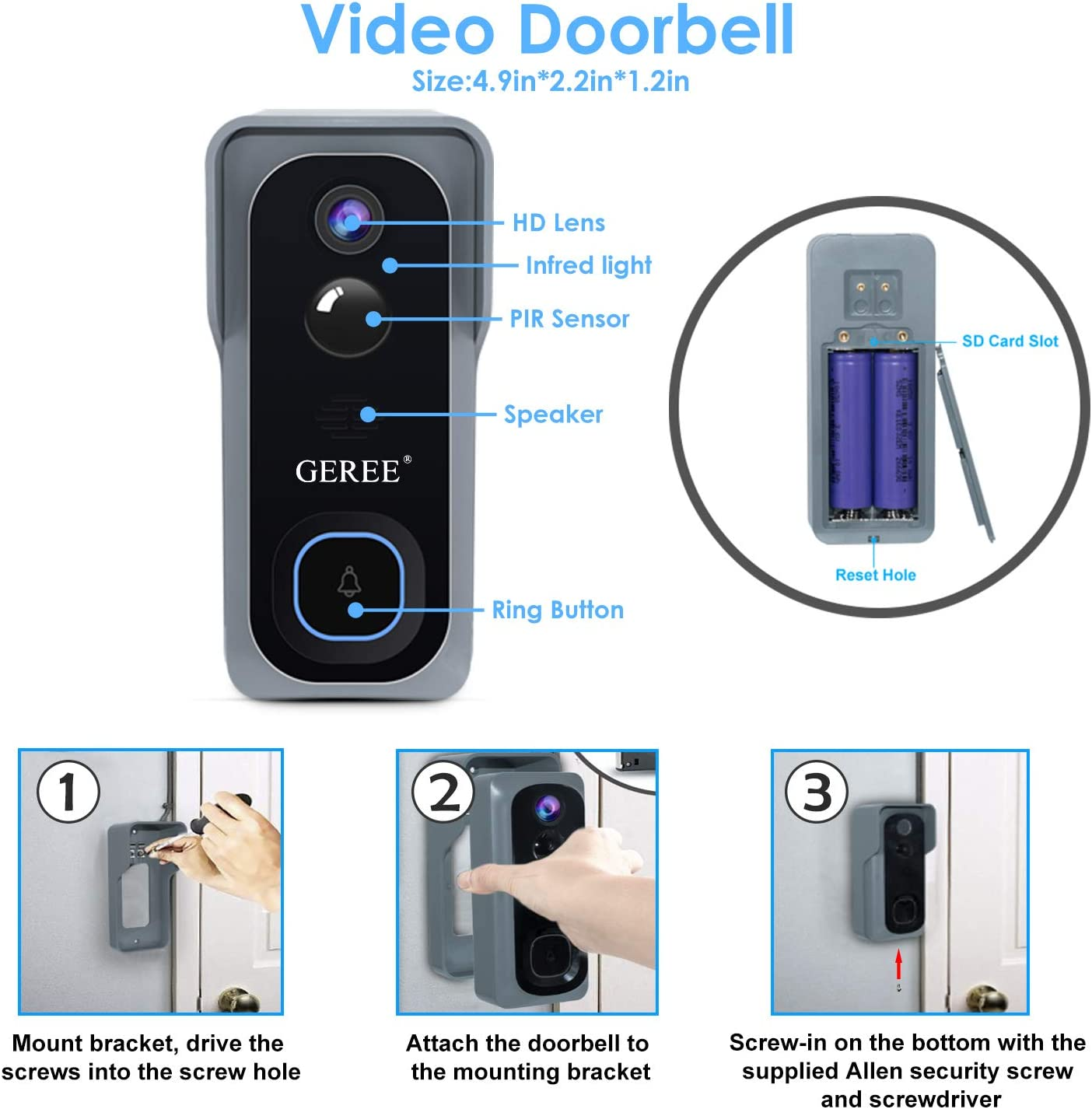 Campark Wireless WiFi Video Doorbell 1080P Two-Way Audio Smart Security Camera
