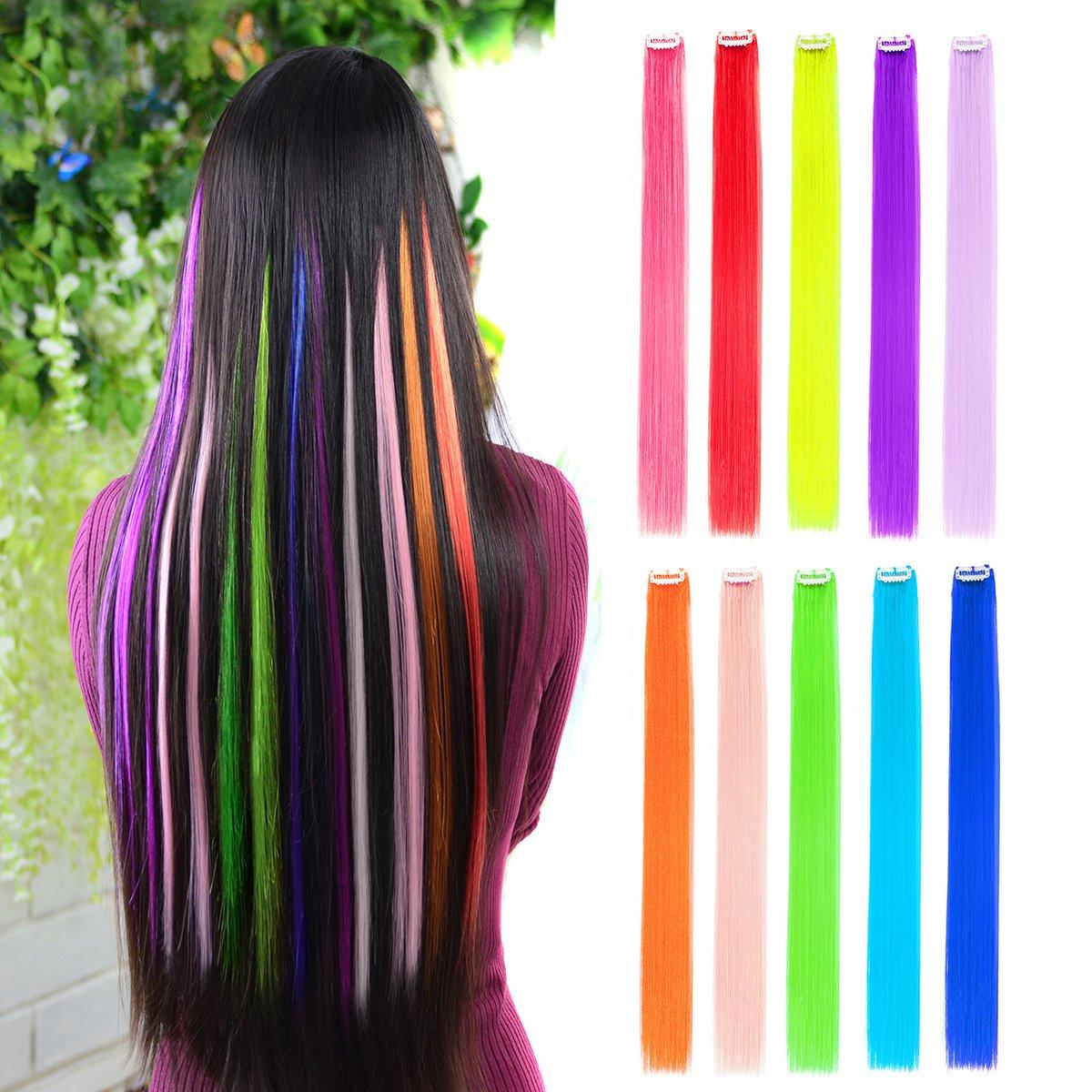 d7c4377857f6 Amazon.com   10pcs Colored Clip in Hair Extensions 22