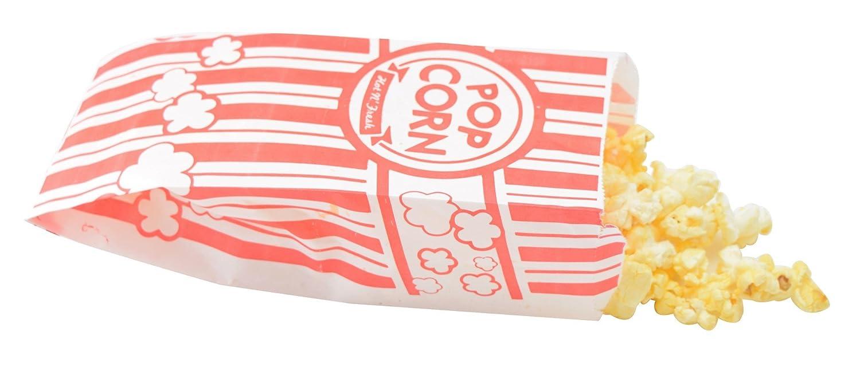 Papel rojo y blanco bolsas de palomitas de maíz, 1 oz, 100 ...