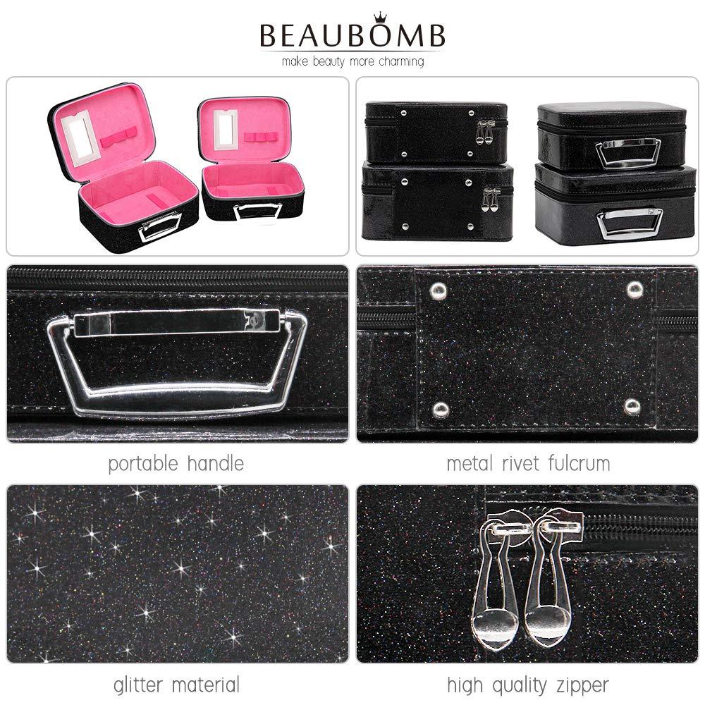 b209d17f214f BEAUBOMB Black Makeup Case Glitter Travel Makeup Case Cute Cosmetic Bag Set  Big Large&Small...