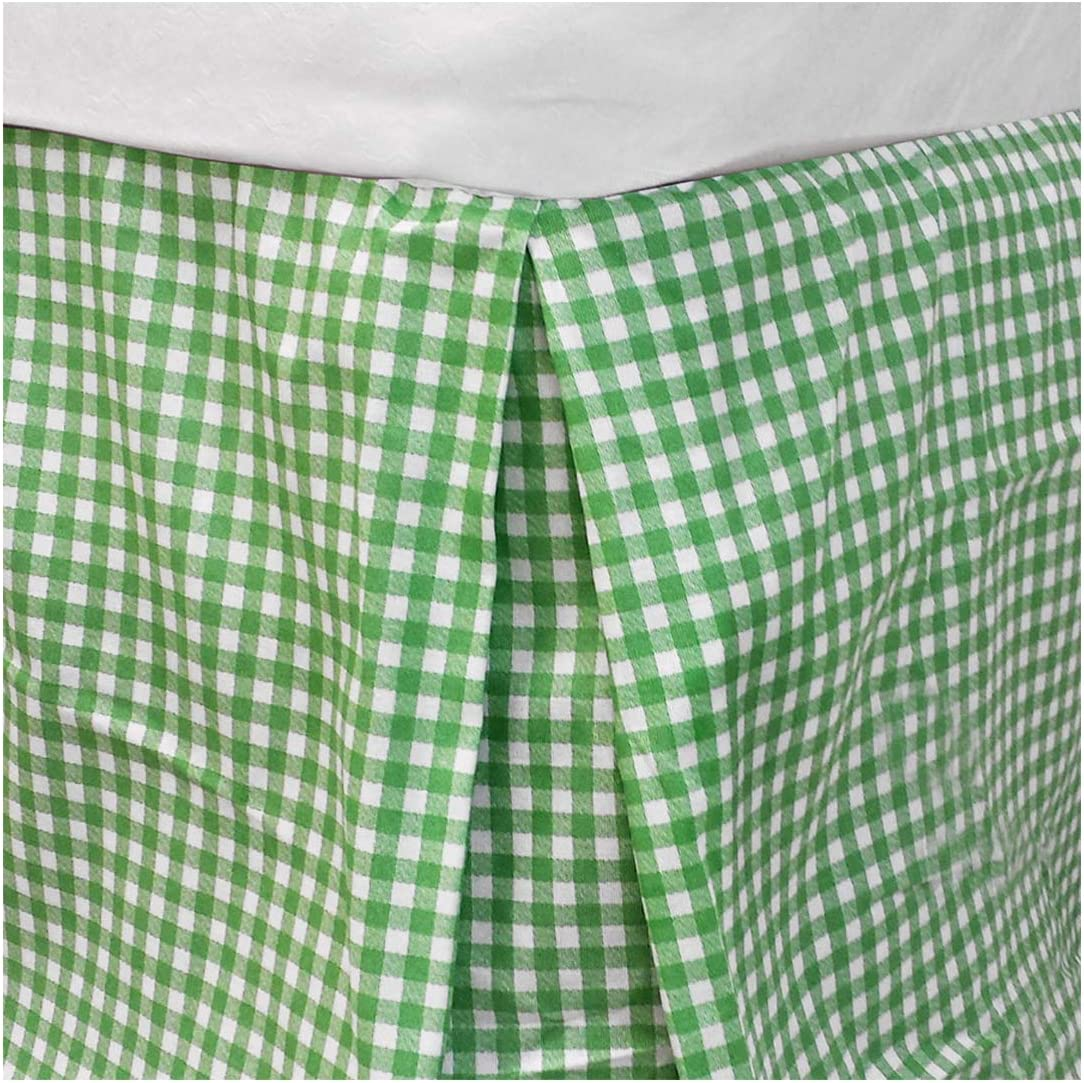 store51 Bright Green Plaid Twin Bedskirt Geometric Bedding Accessory