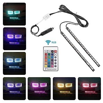Minger LED Band Auto Front Kühlergrille Beleuchtung Dekoration 2 X 50cm RGB  Pkw LED Lichtleiste Wasserdicht