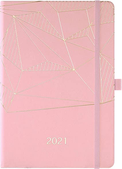 Agenda 2021 - Agenda A5 semanal y mensual, de enero de 2021 a diciembre de 2021, con portalápices, bolsillo interior, bandas, tapa dura de primera calidad, 14,6 * 21,4 cm, rosa: Amazon.es: Oficina y papelería
