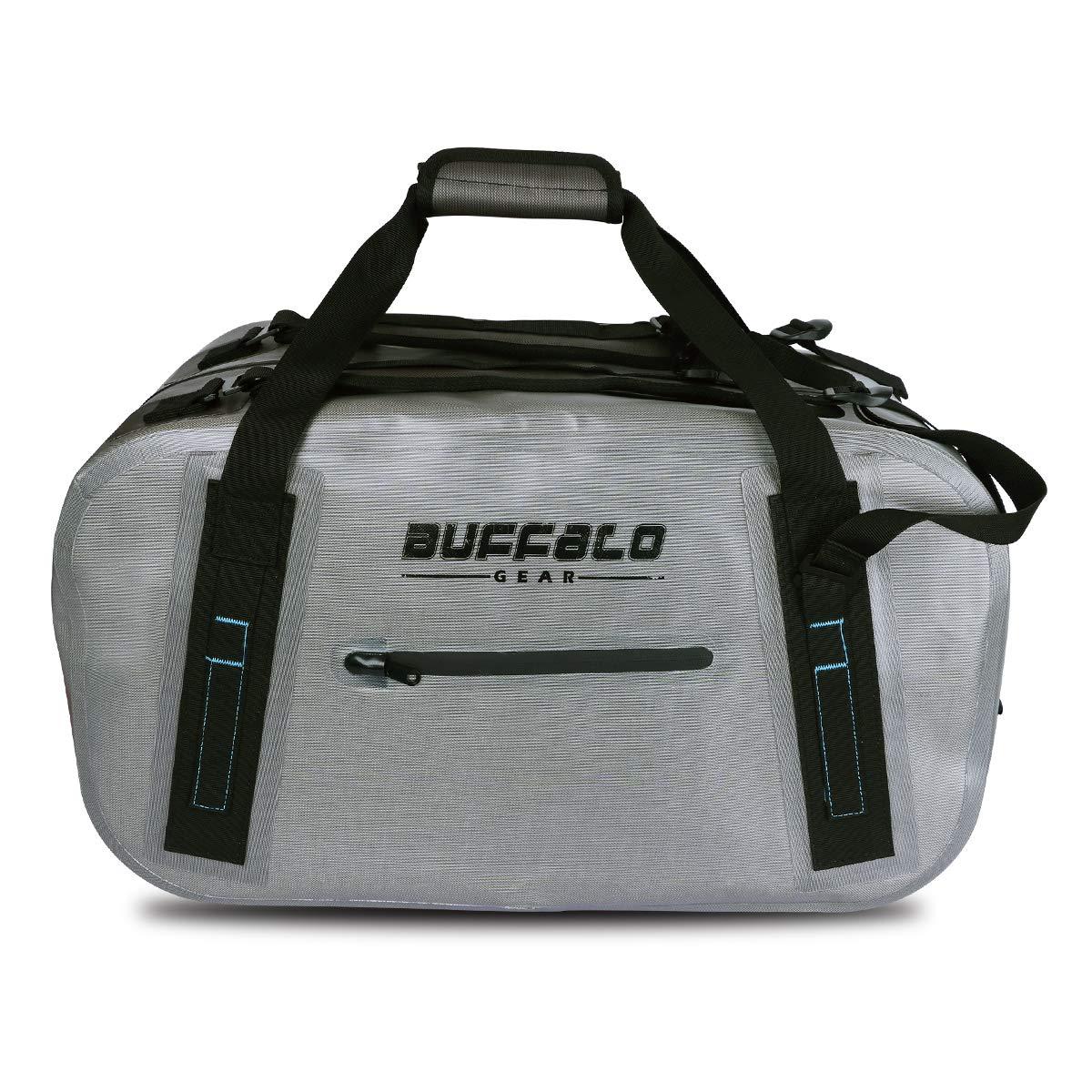 Buffalo Gear Waterproof Duffel Bag 50L Large Grey 840D TPU Dry Bag Dry Bag for Travel, Motorcycling, Cycling, Hiking, Camping, Kayaking, Beach, Boating Swimming Rafting Fishing and Watersports by Buffalo Gear