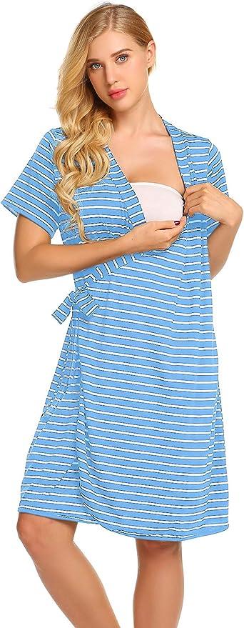 Ekouaer Striped Maternity Robe Pregnant Short Sleeve Labor Delivery Nursing Hospital Gowns
