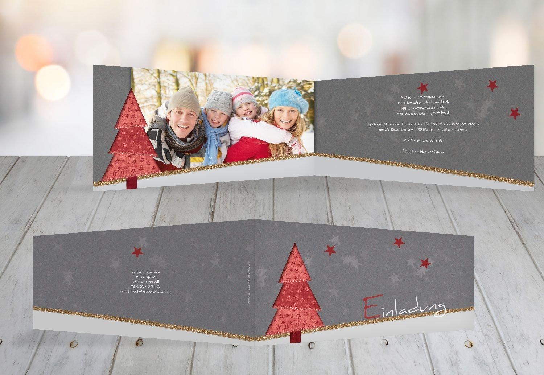 Kartenparadies Einladungskarte zu Weihnachten Foto Einladung Farbbäumchen, hochwertige Weihnachtseinladung zum Selbstgestalten (Format  215x105 mm) Farbe  DunkelGrasGrün B01N6QE13D | Tragen-wider  | Große Auswahl  | Reichlich Und Pünktliche Li