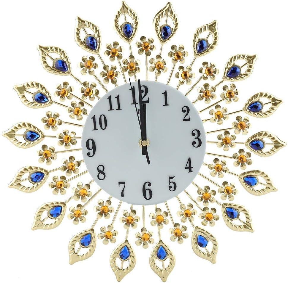 Zoternen Reloj de Pared Colgante de Diamantes Silencioso Reloj de Pared de Dormitorio de Flores de Hierro Forjado Europeo de Moda