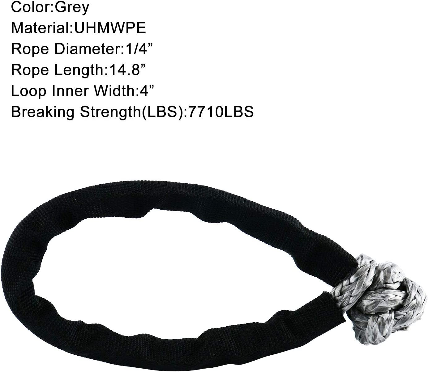 with Black Sleeve for 4 Off-Road ATV UTV Jeep Winch Ropes 1//2 x 23.4 DasMarine Soft UHMWPE Shackle 1//2 x 23.4 30860LBS Breaking Strength