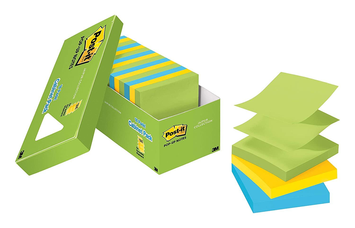 Post-it Pop-up Notes, America's #1 Favorite Sticky Note, 3 in x 3 in, Jaipur Collection, 18 Pads/Cabinet Pack (R330-18AUCP)