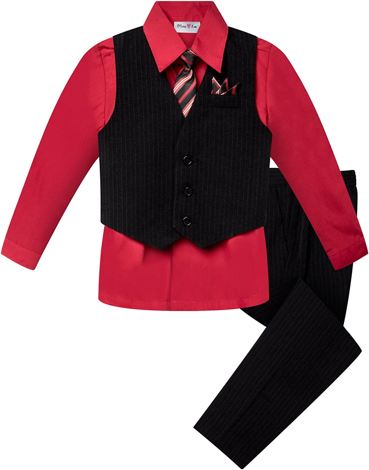 Size S to 20 OLIVIA KOO Baby and Big Boys 4 Piece Pinstripe Vest Suit Set