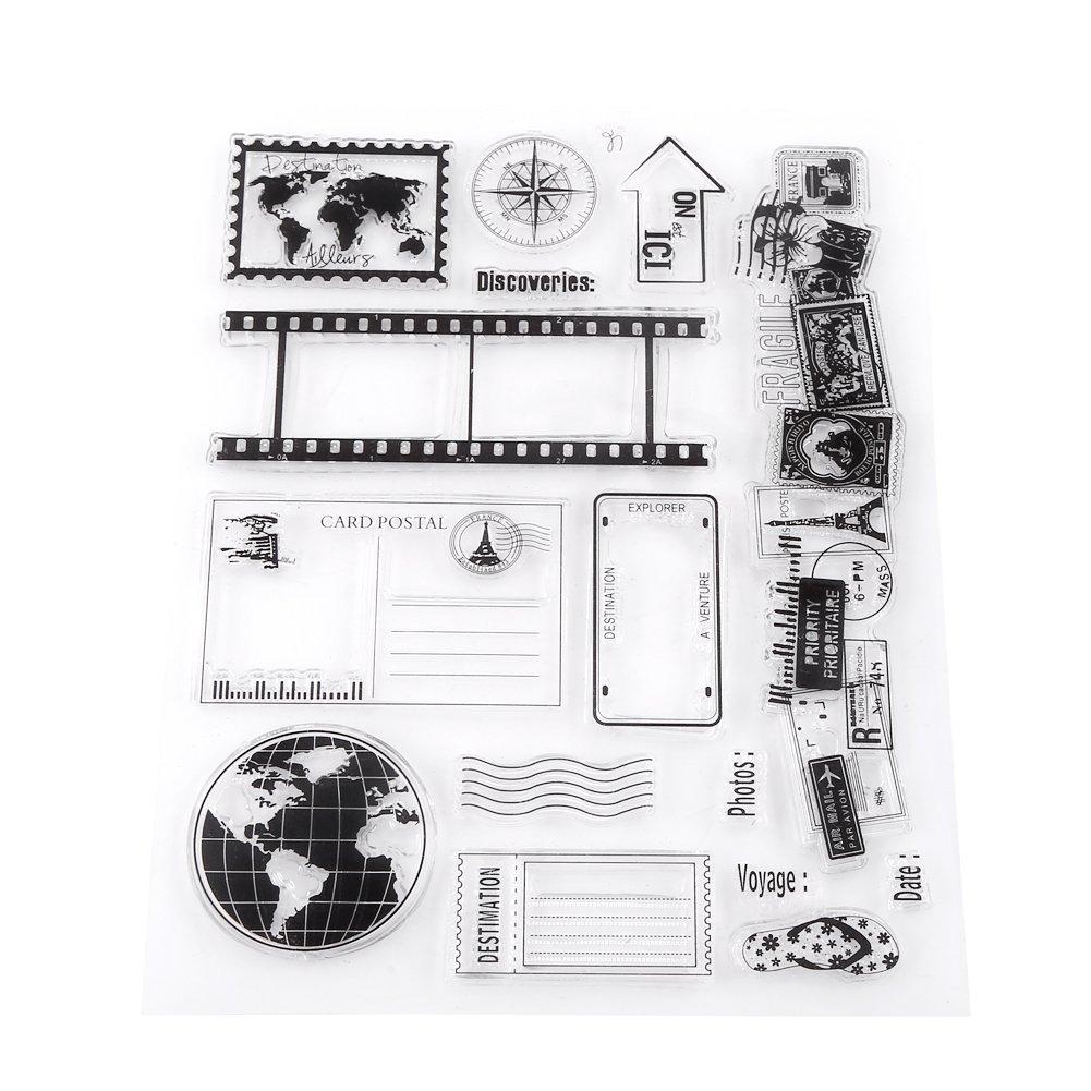 14x18 cm 1 Set Trasparente Album di Foto Album Trasparente In Silicone Mappa della Terra Francobolli Francobolli Francobolli Per Album di Foto FAI DA TE Scrapbook